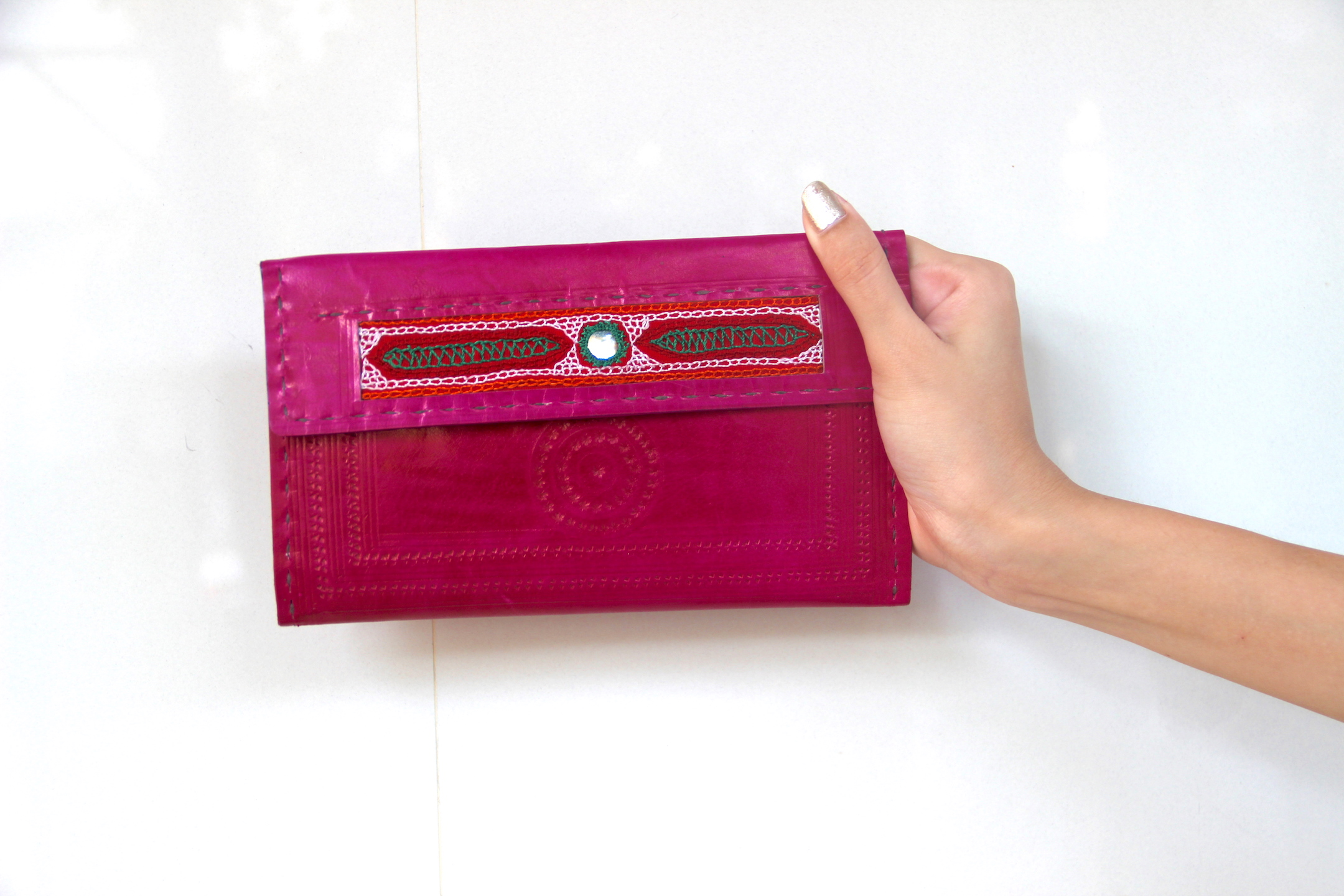 baa89ea453 Pink embroidered Leather Wallet, Women's Wallet