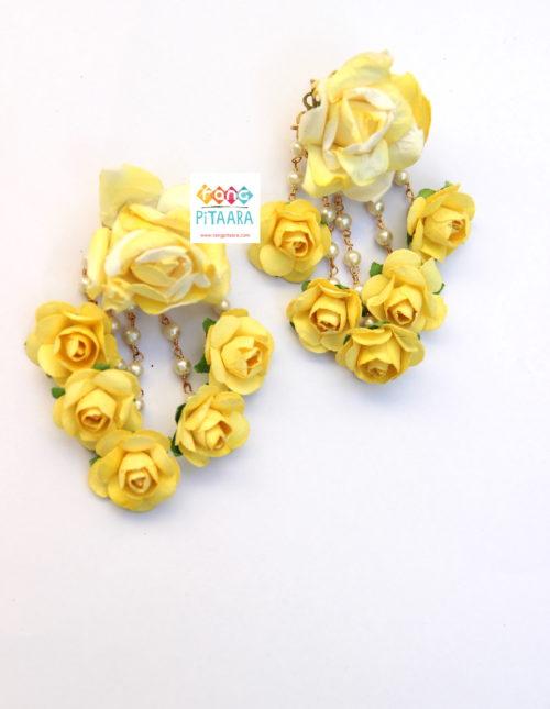 Pretty Yellow Paper Flowers Choker Set