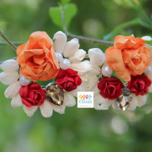 Orange Flower Paper Earrings