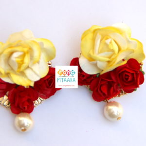 Elegant Yellow Red Paper Flower Jewellery Set