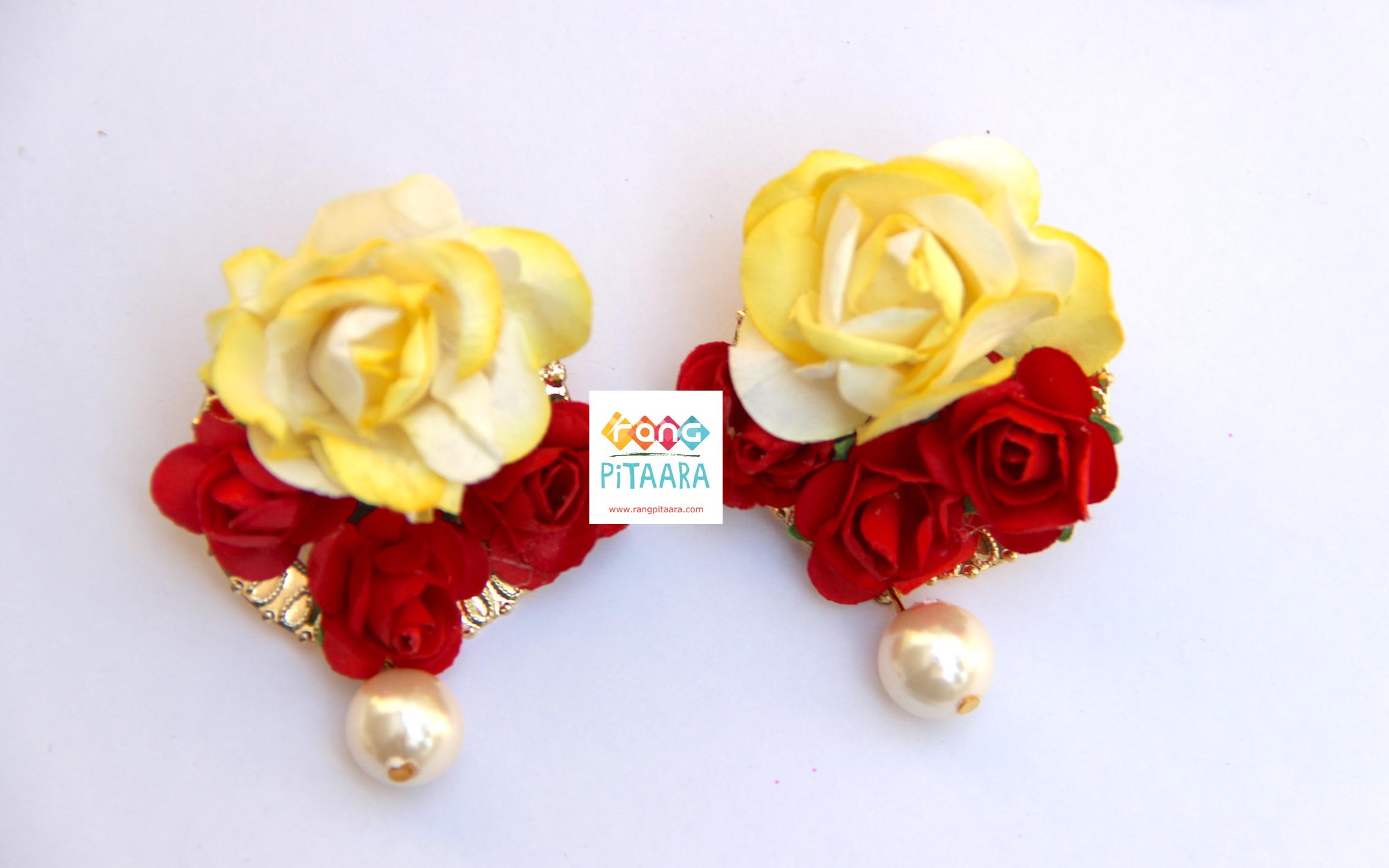 Elegant Yellow Red Paper Flower Earrings Rangpitaara
