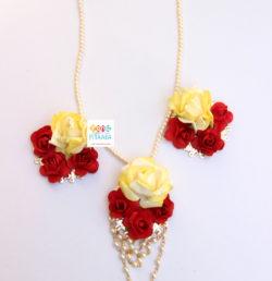 Elegant yellow red paper flower jewellery set rangpitaara elegant yellow red paper flower jewellery set mightylinksfo Images