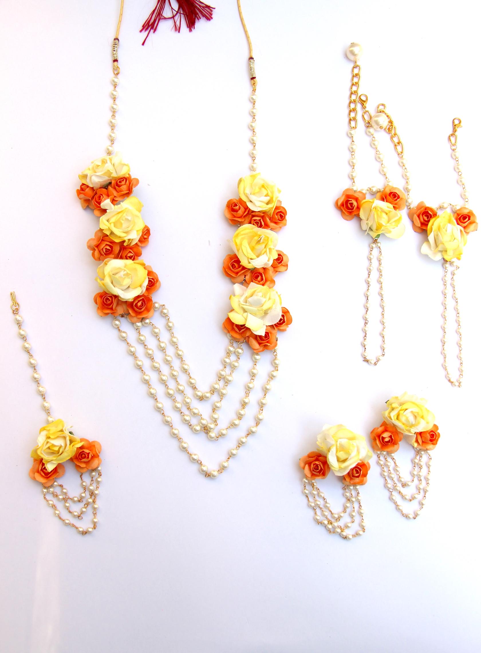 Exquisite Yellow Flower Paper Jewellery Set Rangpitaara