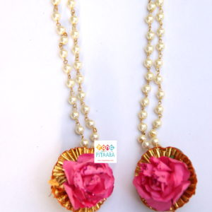 Pink Paper Flower with Gota Patti Jewellery Set
