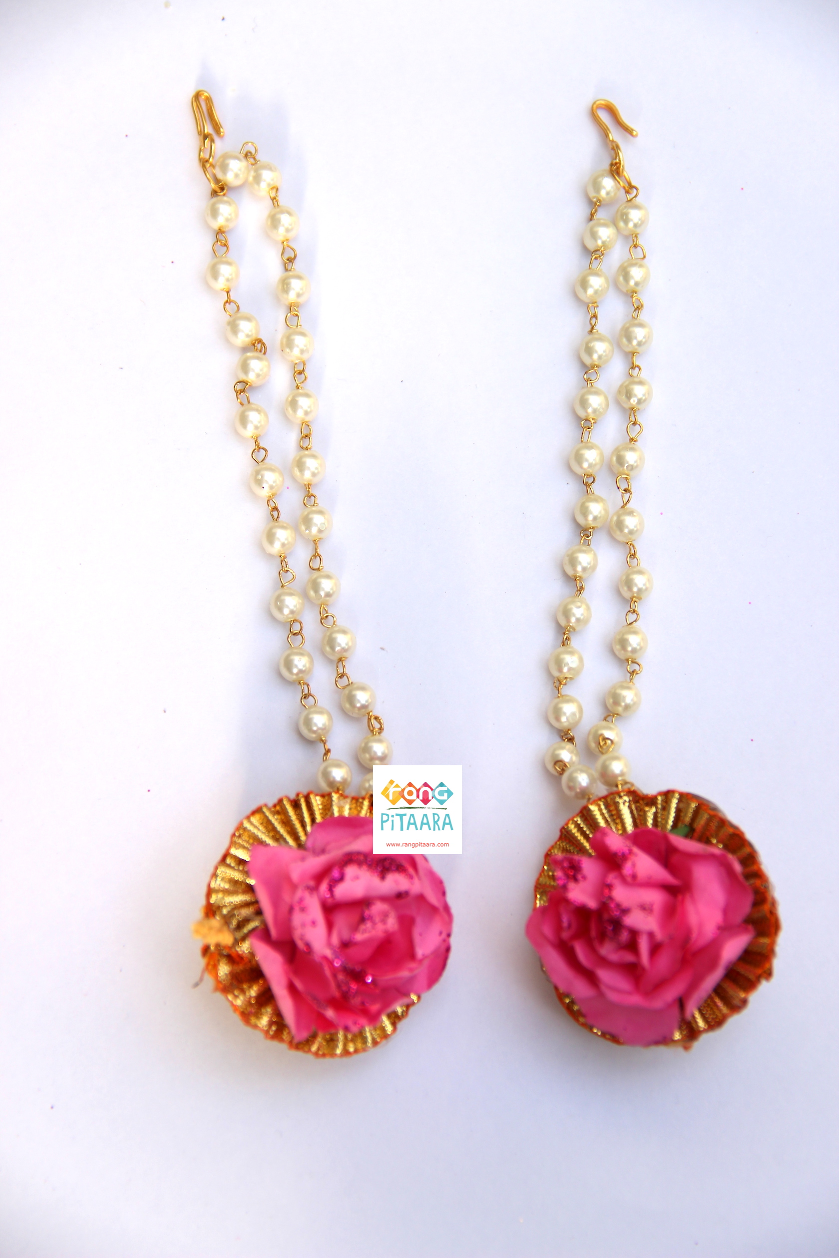 Pink Paper Flower with Gota Patti Jewellery Set