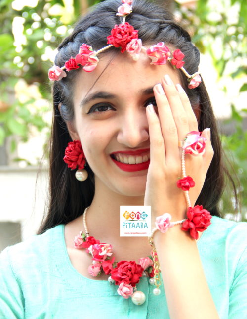 Red Pink Rose Paper Flower Jewellery