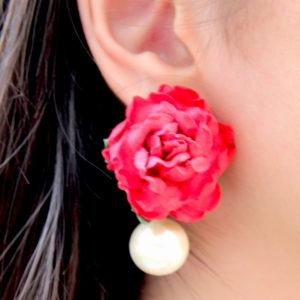 Red Pink Rose Paper Flower Earrings