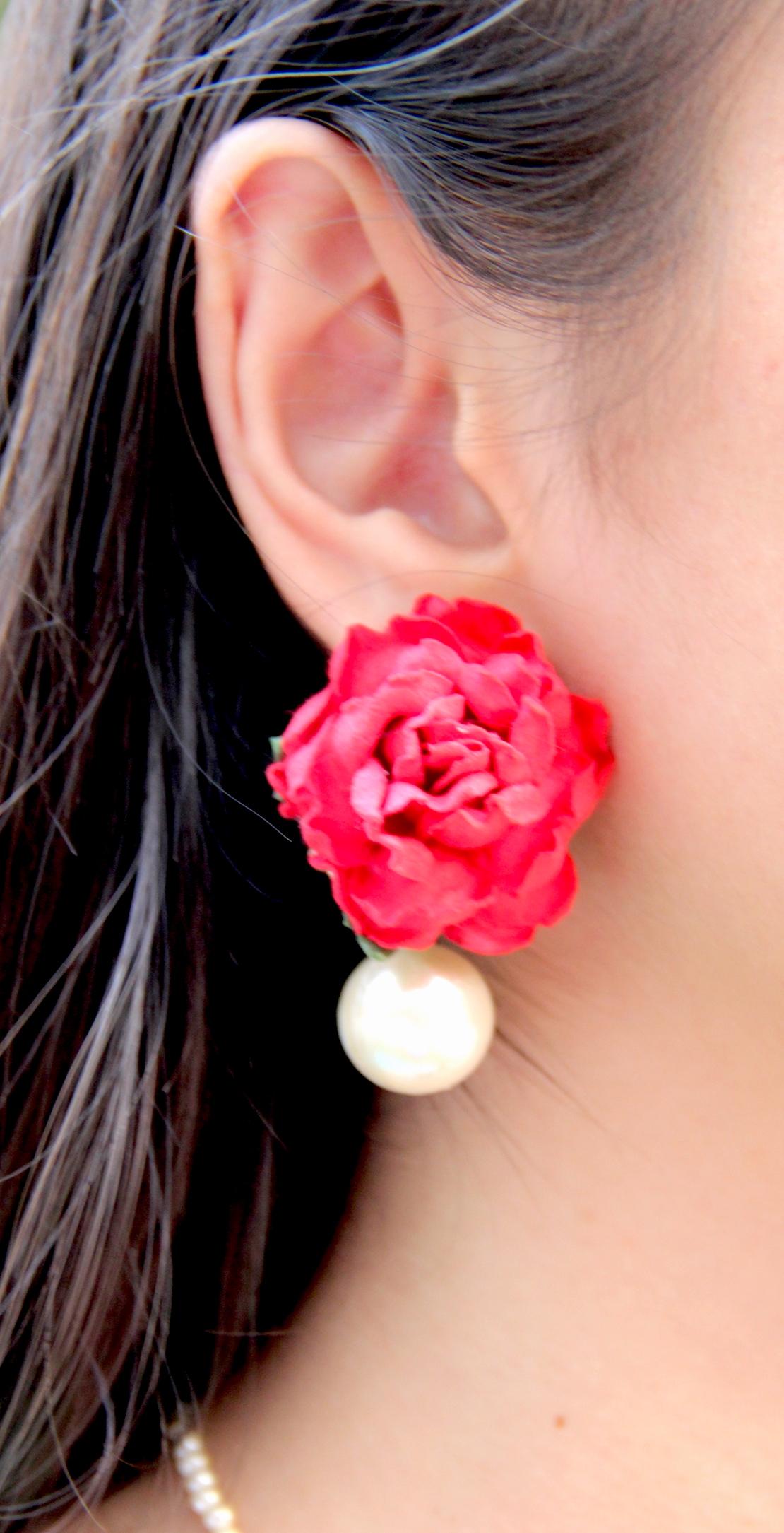 Red Pink Rose Paper Flower Earrings