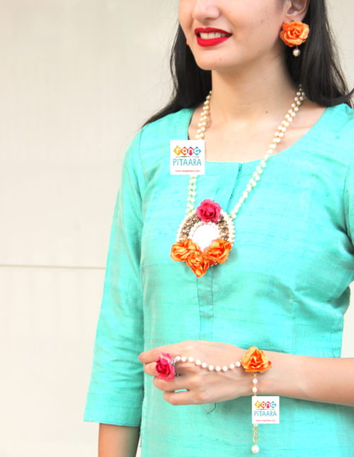 Orange Flower Paper Jewellery Set