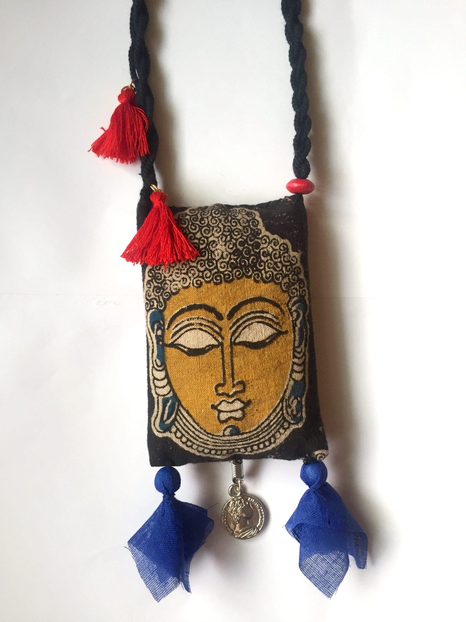 Yellow Buddha Fabric Necklace Rangpitaara