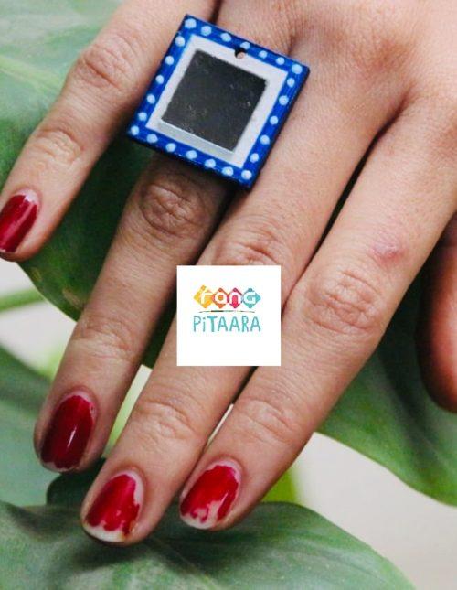 Handpainted blue Mirror Ring Rangpitaara