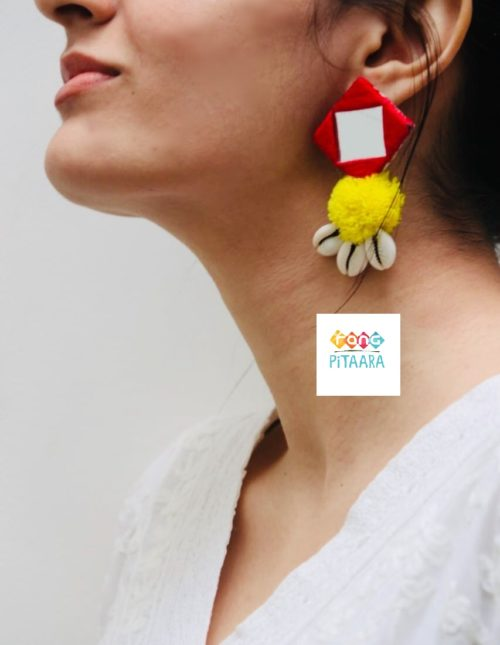 Red & Yellow Mirror Earrings with Pompom Rangpitaara