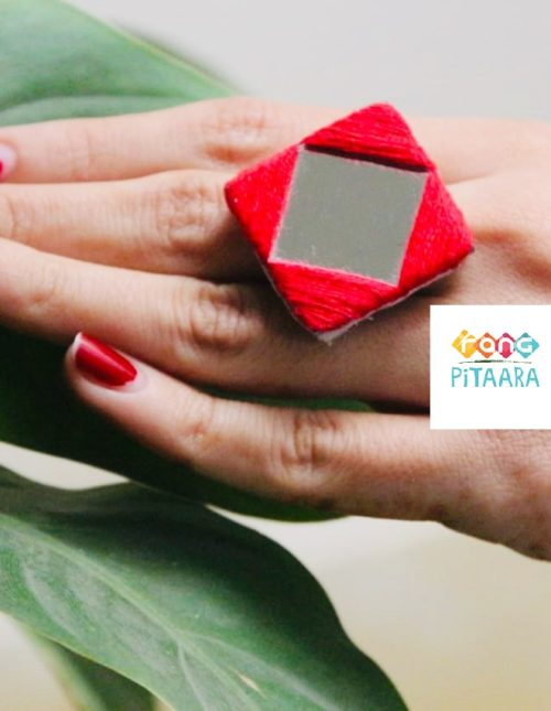 Red Embroidered Mirror Ring Rangpitaara