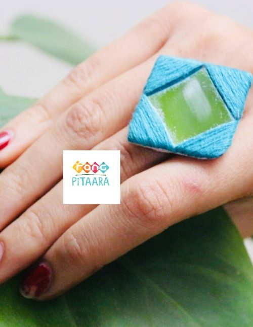 Blue Embroidered Mirror Ring