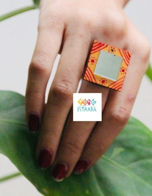 Red and Yellow Handpainted Mirror Ring Rangpitaara