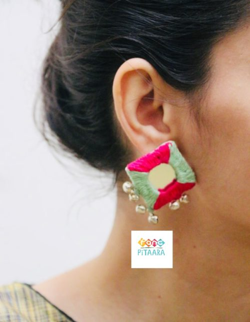 Pink Pista Earrings Mirror Rangpitaara