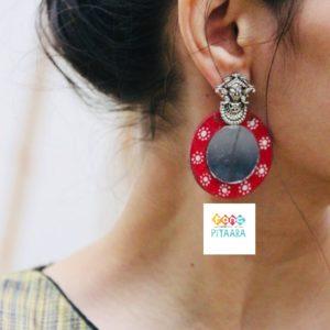 Red Handpainted Earrings Rangpitaara