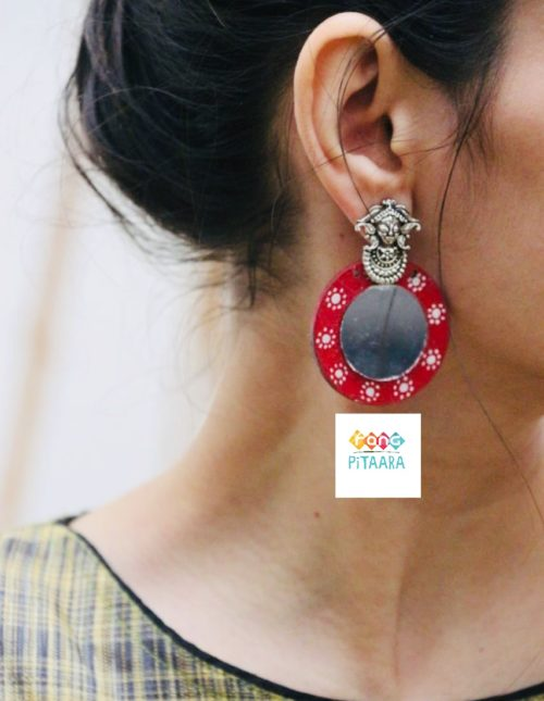 Red Handpainted Earrings Rangpitaara