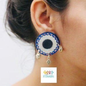 Blue Handpainted Mirror Earrings