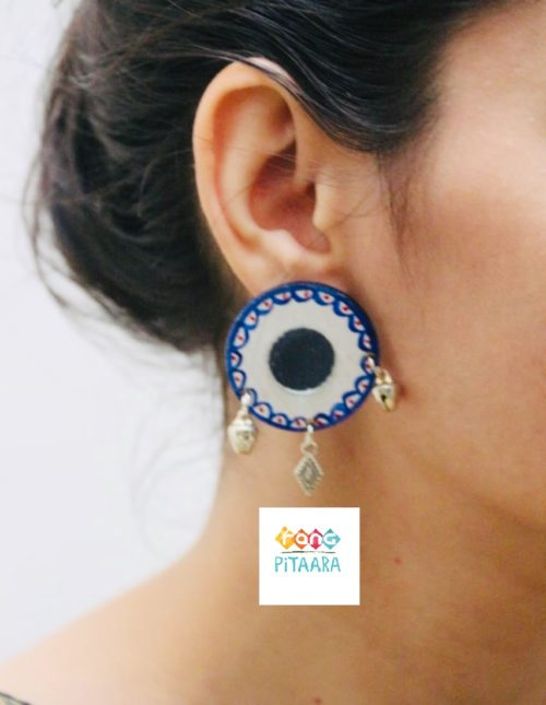 Blue Handpainted Mirror Earrings